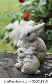 miniature toy rabbit in the garden