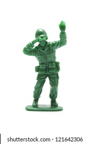 miniature toy soldier on white background, close-up