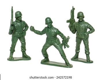 miniature toy soldiers on white background