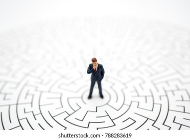 Miniature toy:Business man thinking how to solve this problem.Business obstacle,financial,business growth concept.