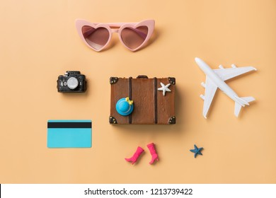 Miniature travel accessories and items with copy space, Travel concept