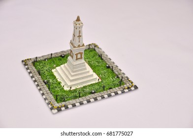 Miniature Tugu Jogja in white background