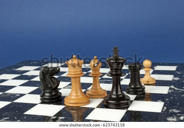 Miniature Turned Boxwood Ebony Chess Set Stock Photo (Edit
