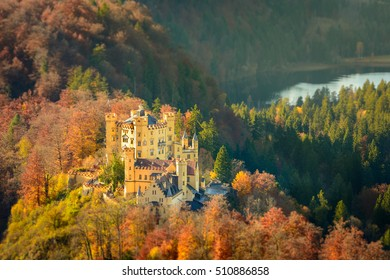 Miniature View of  Hohenschwangau Castle in golden light, Fussen