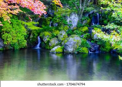 Miniature Waterfalls in Kyoto Park in Japan. Horizontal Image