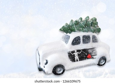 A miniature white Christmas car with a flag of Blackbeard Pirate.
