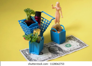 Miniature woman with huge haul of groceries. Big shopping trip or savings. Bags and cart filled with fresh, green produce and household items. Getting everything you need at the store.