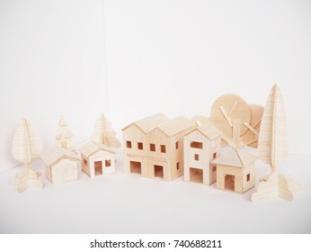 miniature wooden model cutting artwork craft handmade minimal style