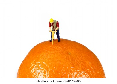 Miniature Worker On Top Of An Orange Isolated On White Background