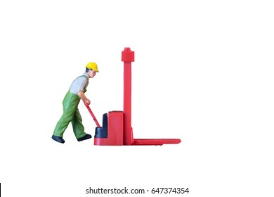 Miniature worker people with lifting tools isolated with clipping paht on white background. Elegant Design with copy space for placement your text, mock up for industrial and logistic concept