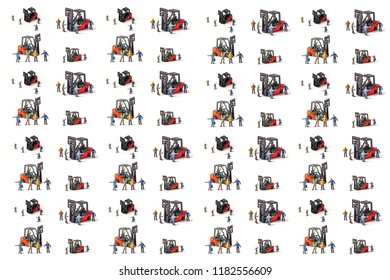 miniature workers with standing front of forklift machine, on white background.