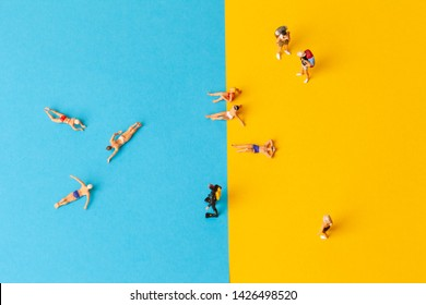 Miniature world. Summer lifestyle, vacation and tourism concept