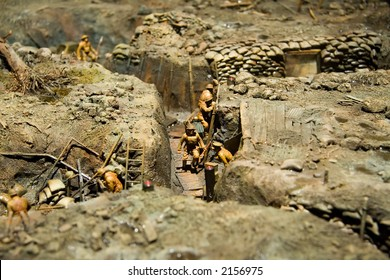 A miniature of World War I trench warfare. Taken at the War Museum of Canada.