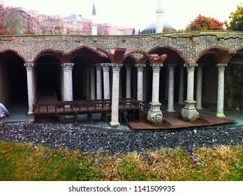 Miniaturk, Istanbul, Turkey - January 3, 2014: Miniature model of The Yerebatan Cistern (Underground Cistern).
