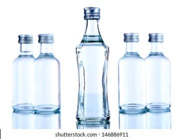 Minibar bottles, isolated on white