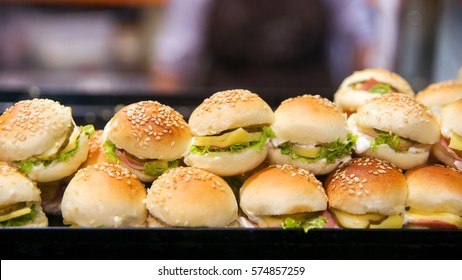 Miniburgers in the showcase of the bakery