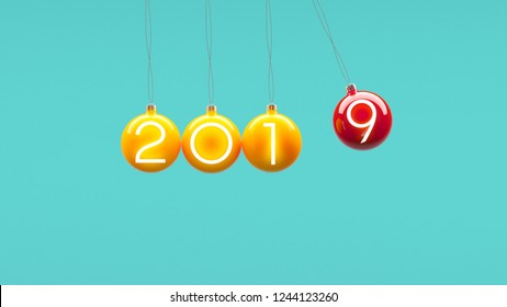 Minimal 2019 new year creative idea concept: Christmas balls on blue background. Copyspace for text