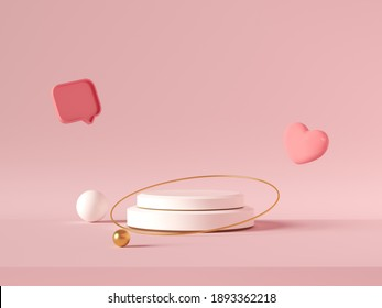 Minimal background, mock up with podium for product display,Abstract white geometry shape background minimalist Valentine's day pink background,Abstract mock up backgroundup 3D rendering. - Shutterstock ID 1893362218