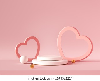 Minimal background, mock up with podium for product display,Abstract white geometry shape background minimalist Valentine's day pink background,Abstract mock up backgroundup 3D rendering. - Shutterstock ID 1893362224