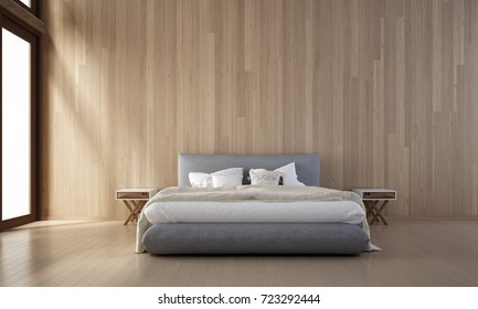 The minimal bedroom interior and wood wall texture design / new 3D rendering model new scene