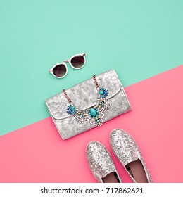 Minimal. Bright Art Colorful Style. Glamor fashion Hipster shoes. Trendy Sunglasses Woman Handbag Clutch. Luxury Shiny Party lady.