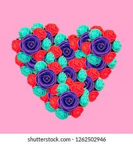 Minimal collage art. Heart of roses. Love concept art