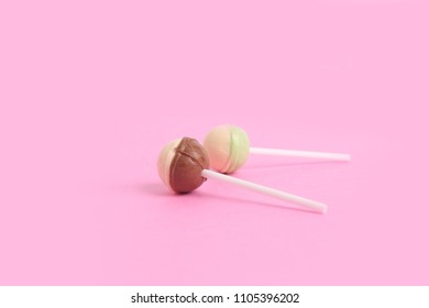 Minimal concept. Colorful background.  lollipopo on bright background. Studio Photo.