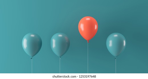 Minimal concept outstanding red balloon floating with green balloons on green background