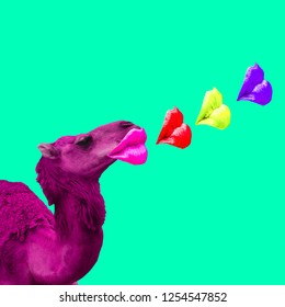 Minimal Contemporary collage art. Camel love kisses. Valentine's day concept
