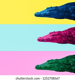 Minimal Contemporary collage art. Colors Crocodiles Mix. Life is colorful concept