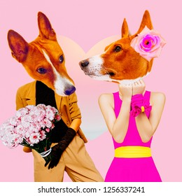 Minimal Contemporary collage art. Dogs in love. Date. St. Valentine's Day concept