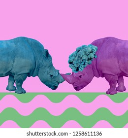 Minimal Contemporary collage art. Rhinos couple. Everybody wants love concept