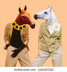Minimal Contemporary collage art. Stylish horses. Vintage concept
