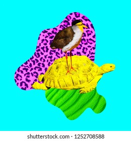 Minimal Contemporary collage art. Tropical animal vibes. Turtle and bird friendship