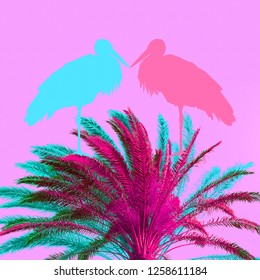 Minimal Contemporary collage art.  Tropical animal vibes. Colours trend