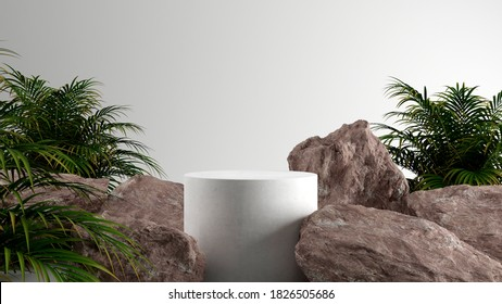 Minimal cosmetic background for product presentation. Cosmetic bottle podium and green leaf on white color background. 3d render illustration. Object isolate clipping path included.