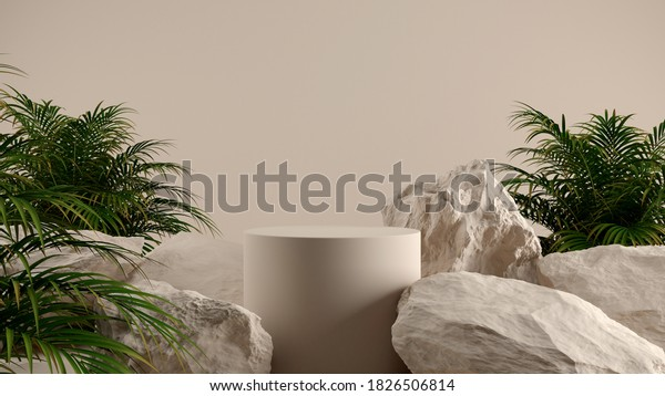 Minimal cosmetic background for product presentation. Cosmetic bottle podium and green leaf on gray color background. 3d render illustration. Object isolate clipping path included.