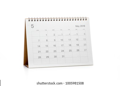 Minimal desk calendar 2018 isolated on white background