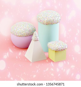 Minimal Easter concept: various Easter cakes and egg on pink confetti background. Creative Easter idea.