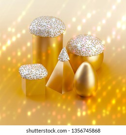 Minimal Easter concept: various golden Easter cakes and egg on gold background.