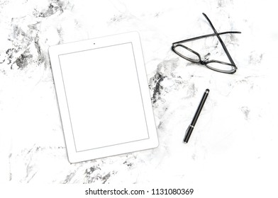 Minimal flat lay. Office workplace tablet IPad