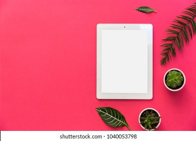 Minimal flat lay with tablet, plants and tropical leaves on pastel background for copy space. top view