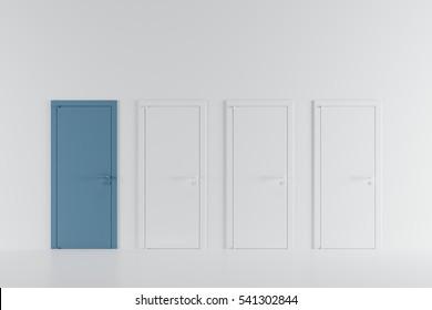 Minimal idea concept space : Niagara blue door in white room.