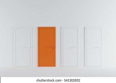 Minimal idea concept space : orange door in white room.