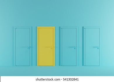 Minimal idea concept space : yellow door in pastel blue room.