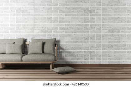 Minimal and loft design living room interior with sofa and brick wall, 3d rendering