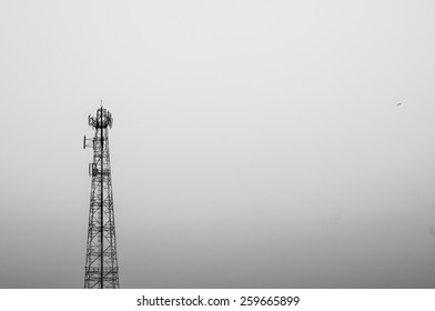 minimal monochrome telecommunication pole