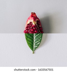 Minimal nature concept with green leaf and pomegranate slice. Summer fruit background. Flat lay social mockup with copy space.