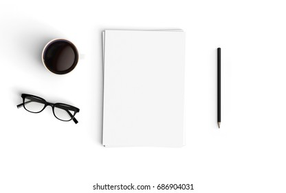 Minimal office desk workplace with blank paper, coffee cup and pencil copy space on white desk background. Top view. Flat lay style.