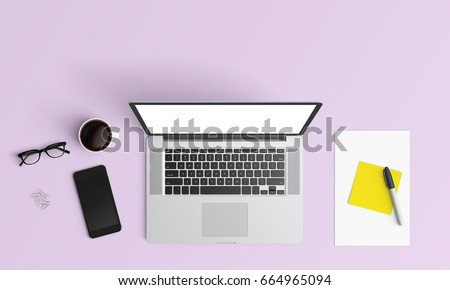 Minimal Office Desk Workplace With Notebook, Eyeglasses, Coffee Up,  Smartphone And Pen Copy